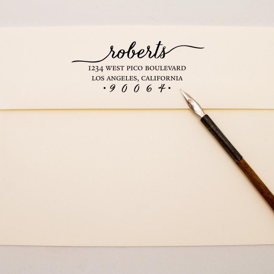 Свадьба - Custom Address Stamp - Flowing Cursive Self Inking Return Address Stamp