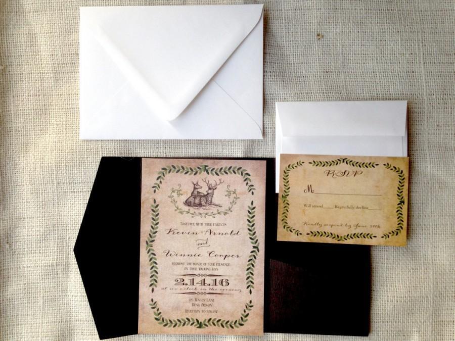 Rustic Western Wedding Invitations: Rustic Wedding Invitation. Deer Wedding Invitations