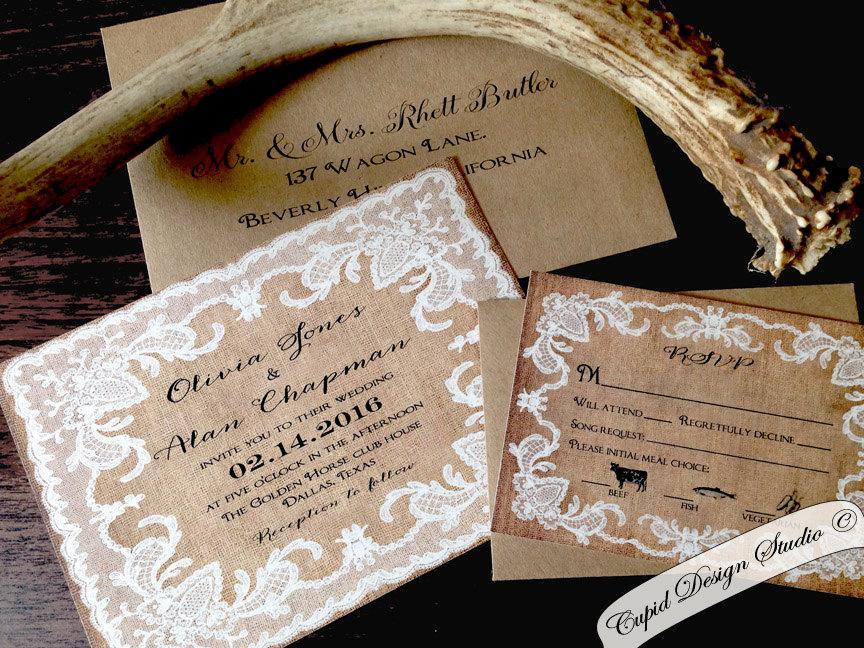 زفاف - Lace and burlap Wedding invitations. Vintage. Rustic. Vintage. Outdoor wedding. Kraft. Custom.