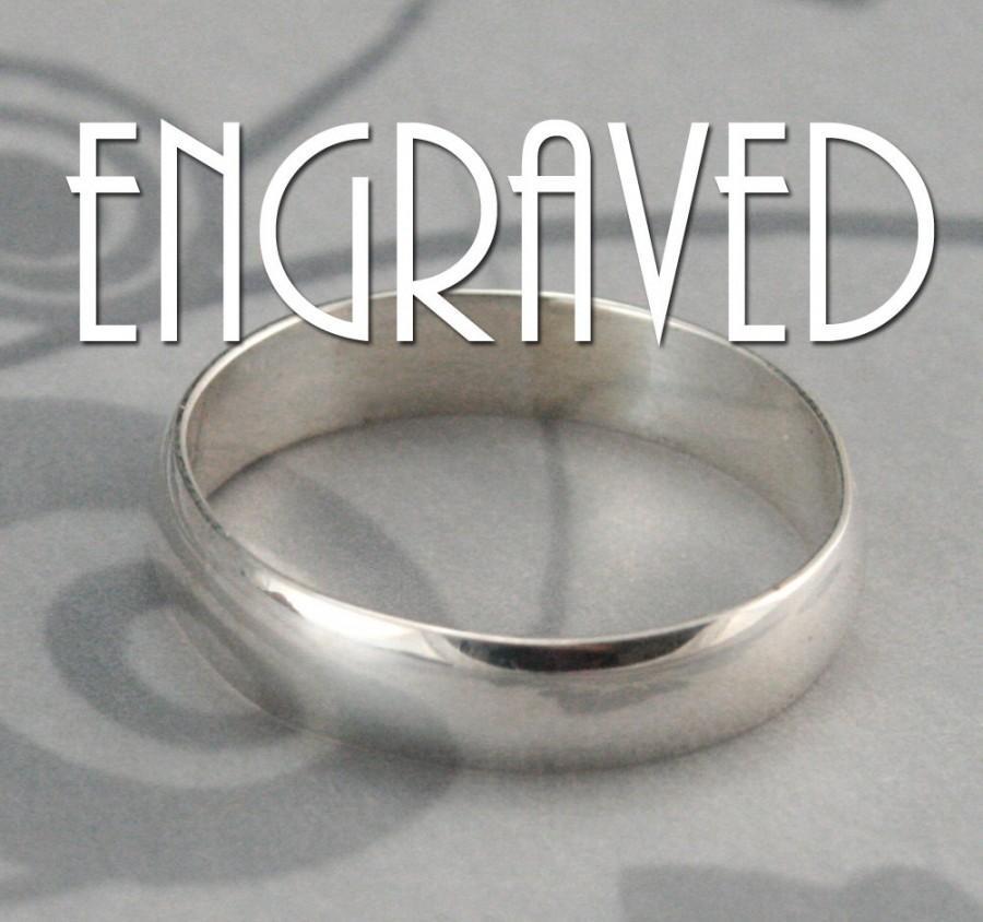 زفاف - Plain Jane Sterling Silver 4mm Wide Band with Personalized Inside Ring Engraving-Low Profile Rounded Traditional Ring-Polished or Brushed