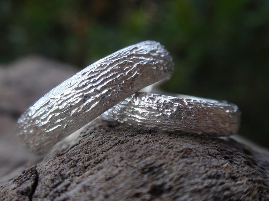 زفاف - wedding bands nature inspired wedding rings hand texture engagement ring set sterling silver, 5mm & 4mm, made to order, organic farm wedding