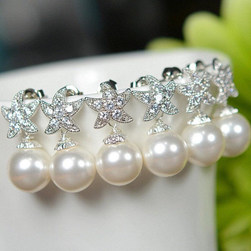 زفاف - Wedding Jewelry Bridesmaid Gift Bridesmaid Jewelry Bridal Jewelry Pink or white Pearl Drop Earrings Cubic Zirconia Earrings