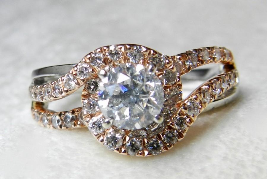 زفاف - Diamond Engagement Ring Half Carat Center Diamond 0.87 total Carat Diamond Halo Ring 14k White and Rose gold