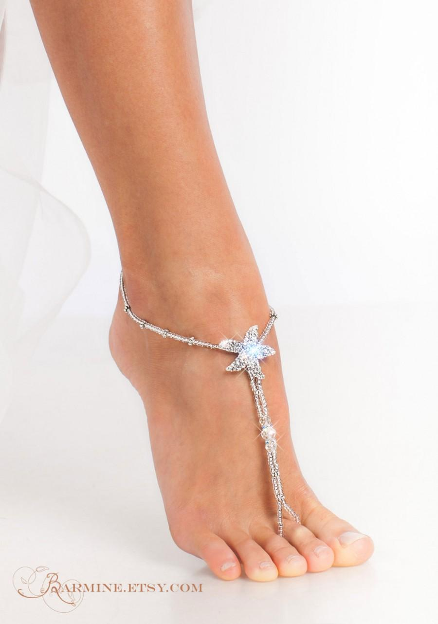 Mariage - Starfish foot jewelry-Silver Beaded barefoot sandals-Bridal accessory-Beach wedding-Foot thong-Beach sandals-Foot jewelry-Slave anklet
