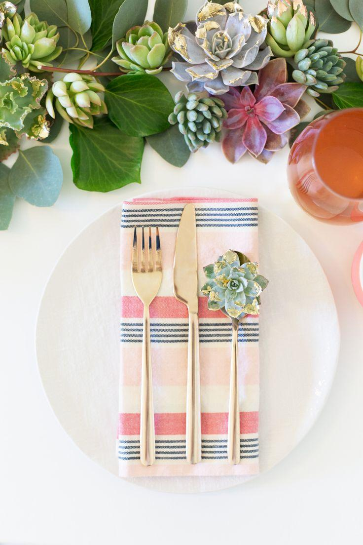 Wedding - DIY Gold   Copper Leaf Succulent Table Runner » Lovely Indeed