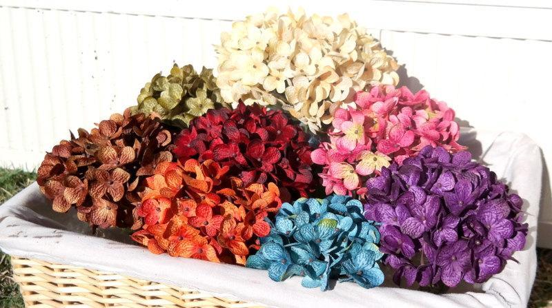Hochzeit - Hydrangea Rustic Floral Arrangement, Flower Accents, Center Piece, Mason Jars Decor,Wedding Decor, Country Decor, Shabby Chic Decor