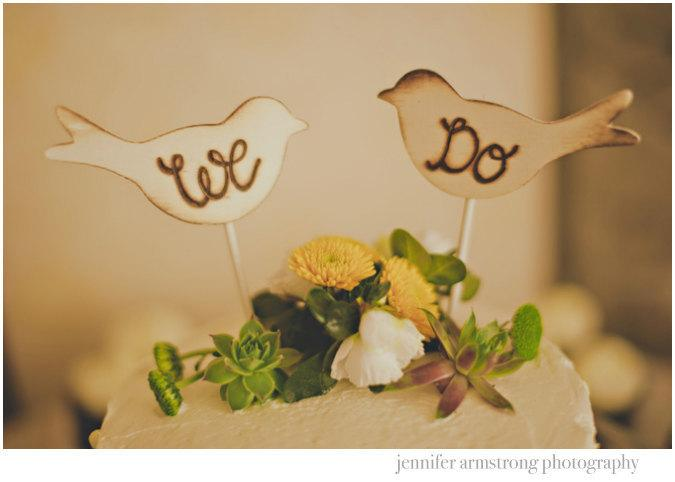 Hochzeit - Rustic Wedding Cake Topper Love Birds We Do Vintage Chic Decor