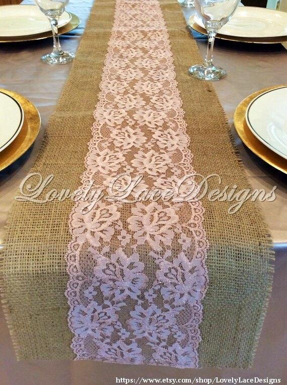 WEDDING DECOR/ Burlap Lace Table Runner With Rose Pink/Dusty Rose ...