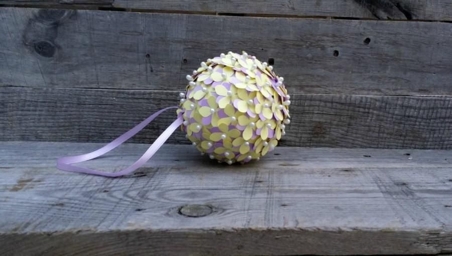Yellow and purple paper flower pomander rustic wedding pomander yellow and purple paper flower pomander rustic wedding pomander flower girl pomander paper flower centerpiece baby bridal shower decor mightylinksfo