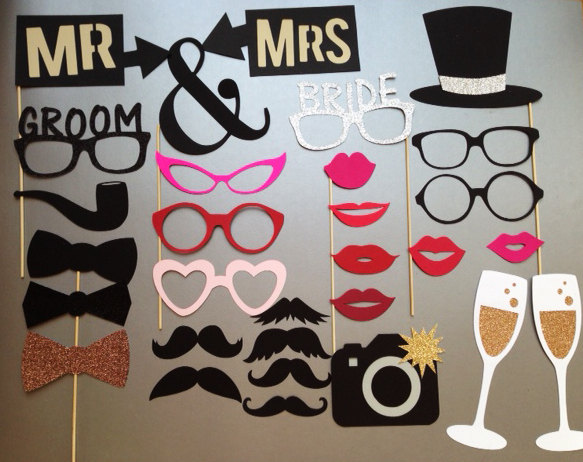 Mariage - Wedding Photobooth Props Holiday Photo Booth Props Set of 30