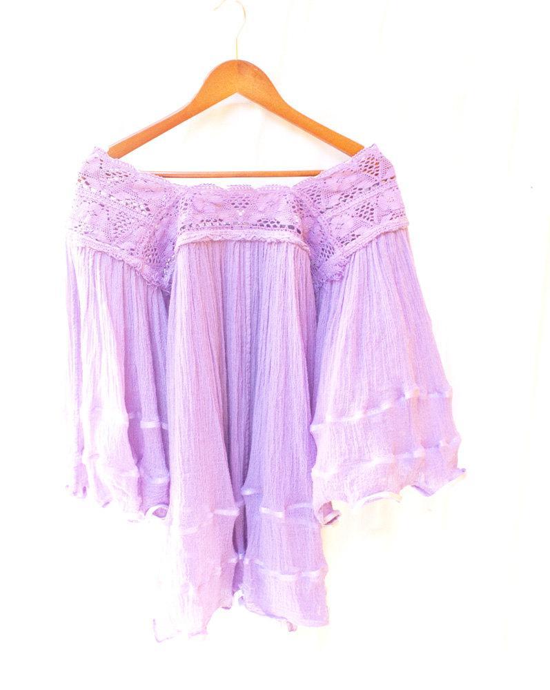 Mariage - Lavender vintage 70s crochet Mexican blouse gauze tunic mini dress bell sleeves bohemian folk hippie ooak