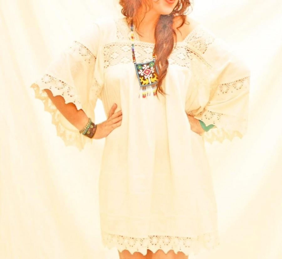 Mariage - Romantic natural Mexican bohemian Mini Dress vintage Crochet Lace