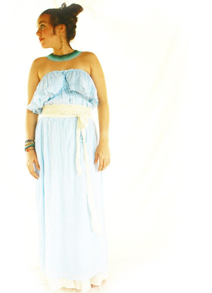 Wedding - La Serena Mexican Dress Sky blue Ruffled Mexican off shoulder Dress gauze bohemian wedding fiesta maxi