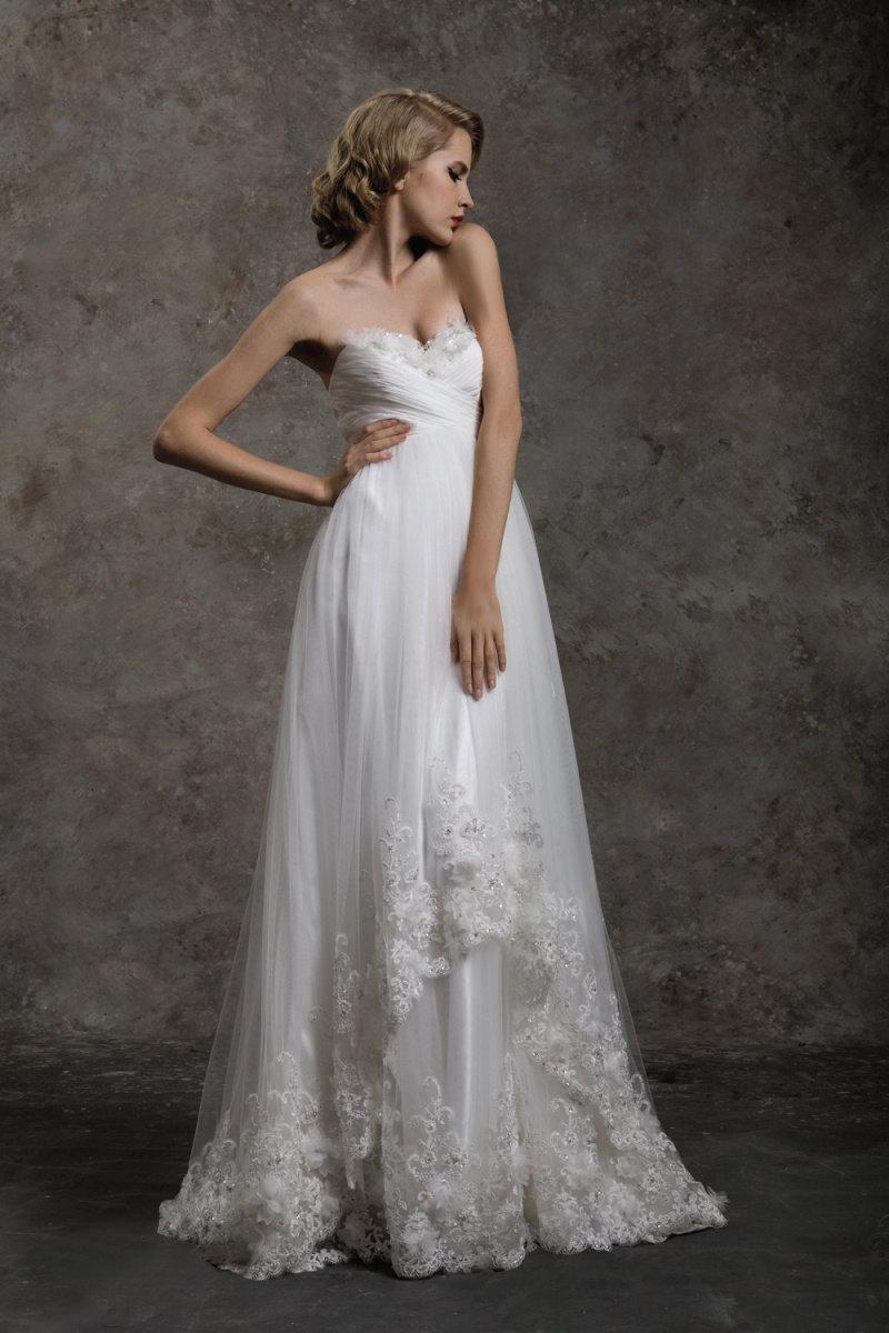 Wedding - Strapless A line Asymmetric Skirt With Lace Trim Bridal Wedding Dress