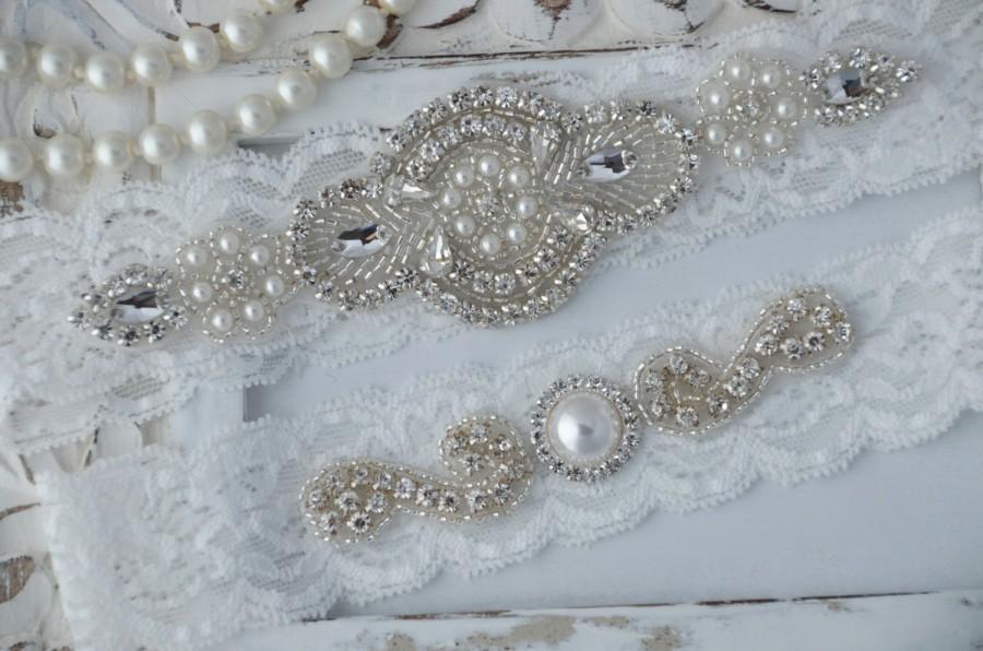 Свадьба - White Lace Wedding Garter, White Bridal Garter Set