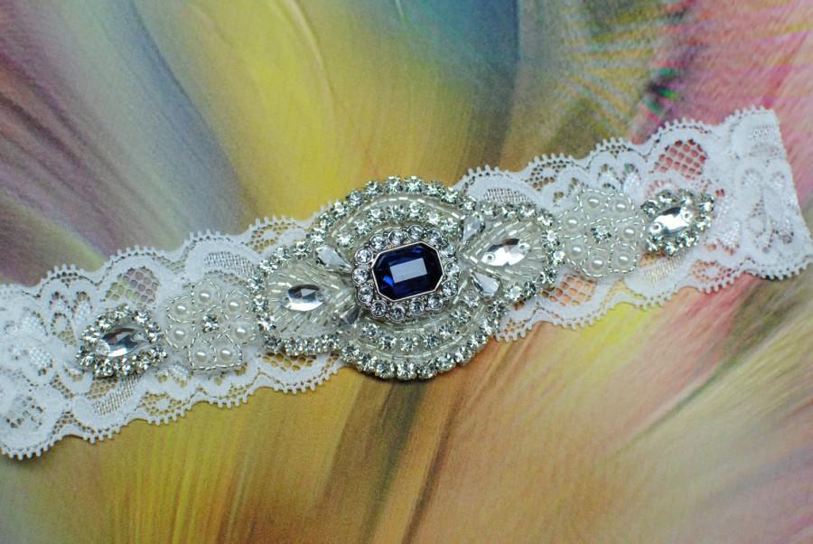 Свадьба - Wedding Garter Blue Bridal Garter Blue Crystal Garter Shiny Blue Garder Crystal Wedding Garder Rhinestone Garter Blue