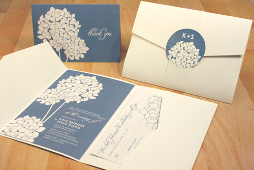 زفاف - Hydrangea Wedding Invitation Sample, Spring Wedding Invite, Pocketfold Wedding Invitations, Blue Cream, Vintage, Rustic, RSVP, Save the Date