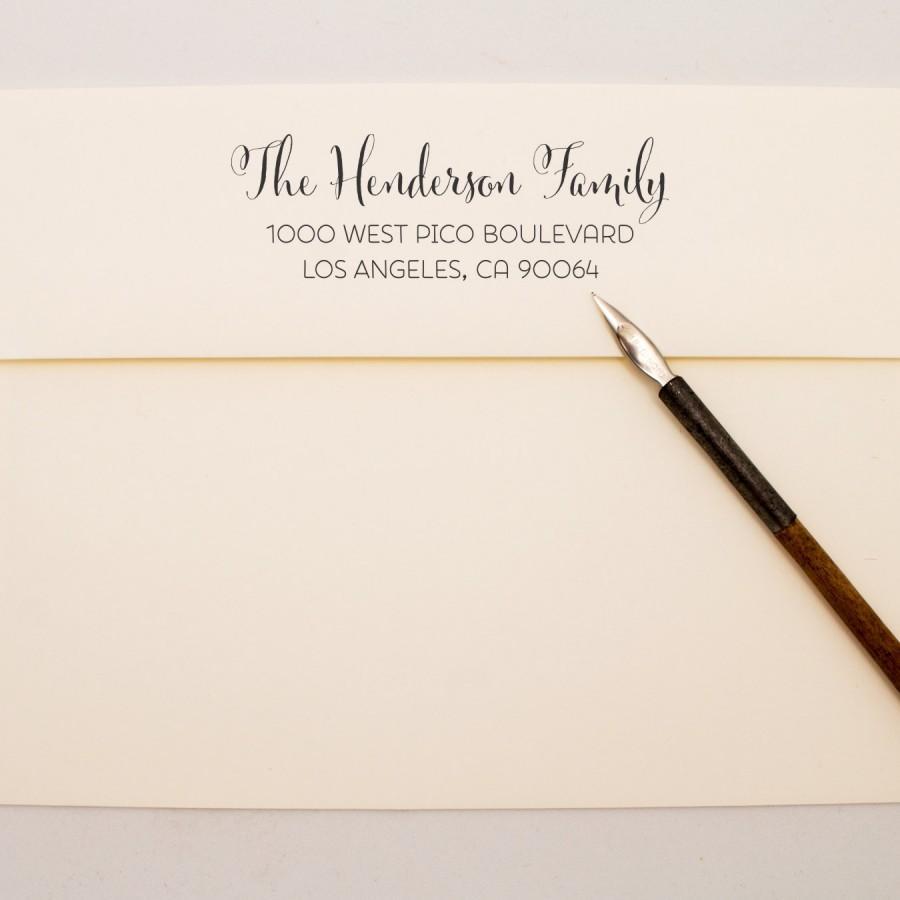 Wedding - Custom Address Stamp - Flowing Pen Family Self Inking Return Address Stamp