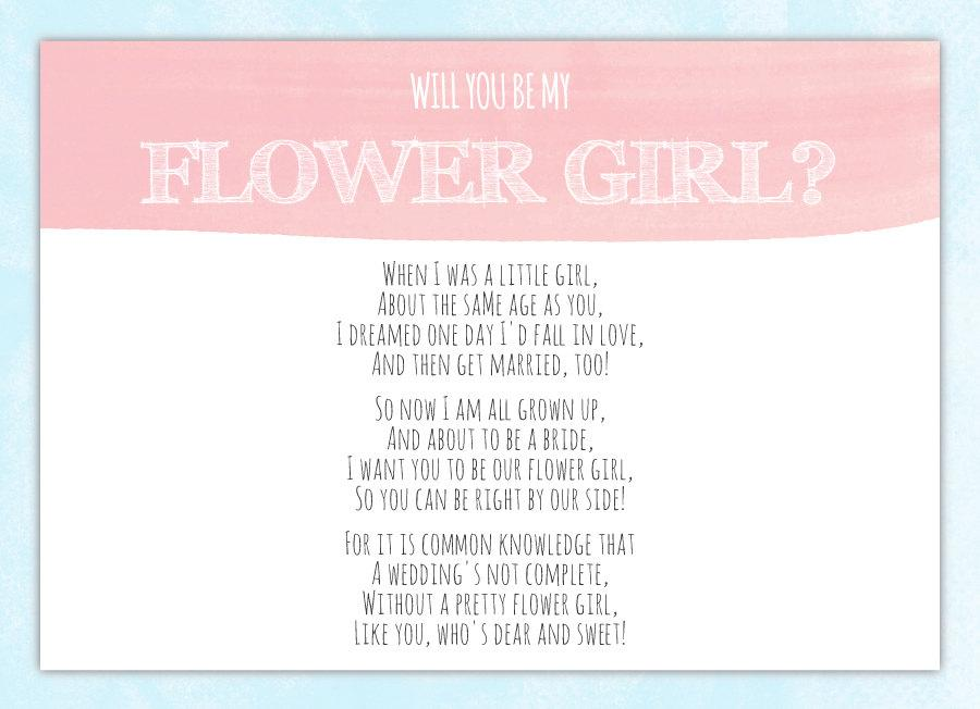 Hochzeit - Will You Be My Flower Girl Card - Flower Girl Invitation - Flower Girl Poem - Will You Be My Bridesmaid Card