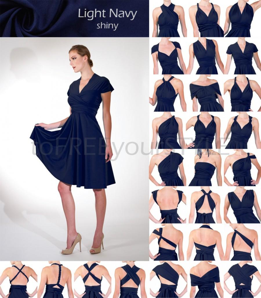 Wedding Convertible Dress short convertible dress in light navy blue shiny full free style bridesmaid infinity wrap dr