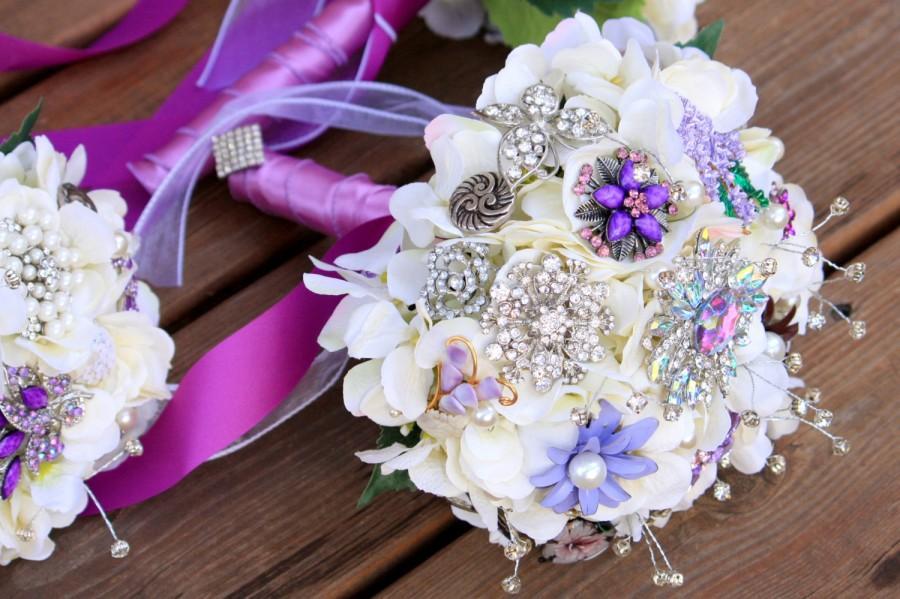 Mariage - Brooch Bouquet Vintage wedding jewelry bouquet purple silver bridal button bouquet