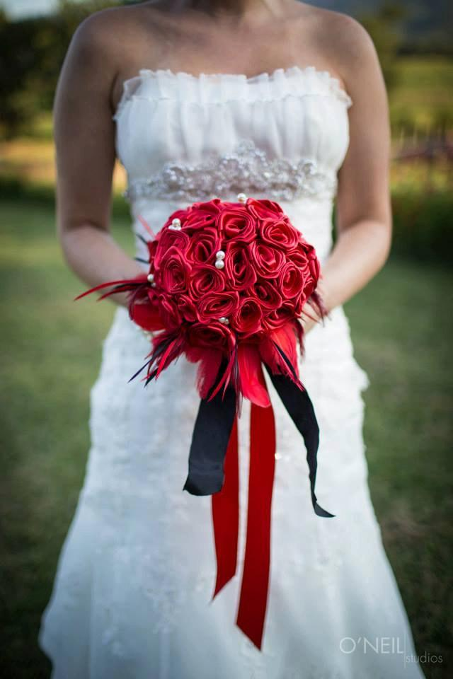 Red Amp Black Rose Bridal Bouquet With Feathers And Pearls 2408956
