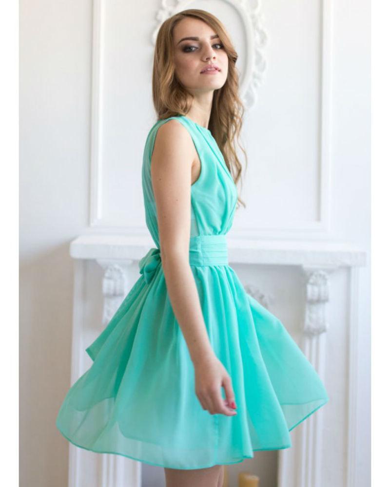Cocktail Dress Aqua Mint Short Dress Bridesmaid Flared Dress Chiffon ...