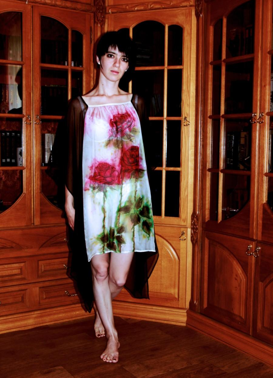 e10284dc433 Silk caftan tunic hand-painted Chiffon original dress painted Blouse Kaftan  Resort wear cover-up Red roses Green Brown White Free size Ready