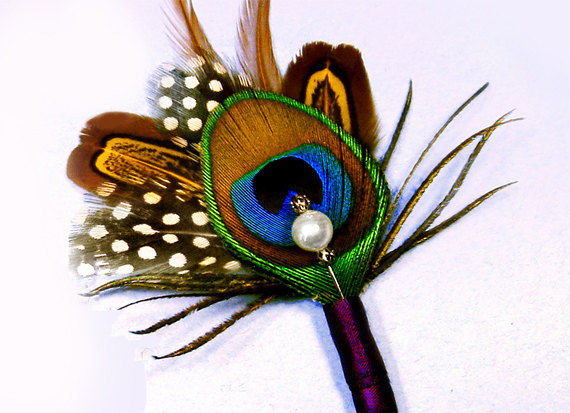 Mariage - Wedding boutinere groomsmen peacock wedding brown boutinere feather grooms boutinere pin peacock boutinere peacock boutinere lapel pin brown