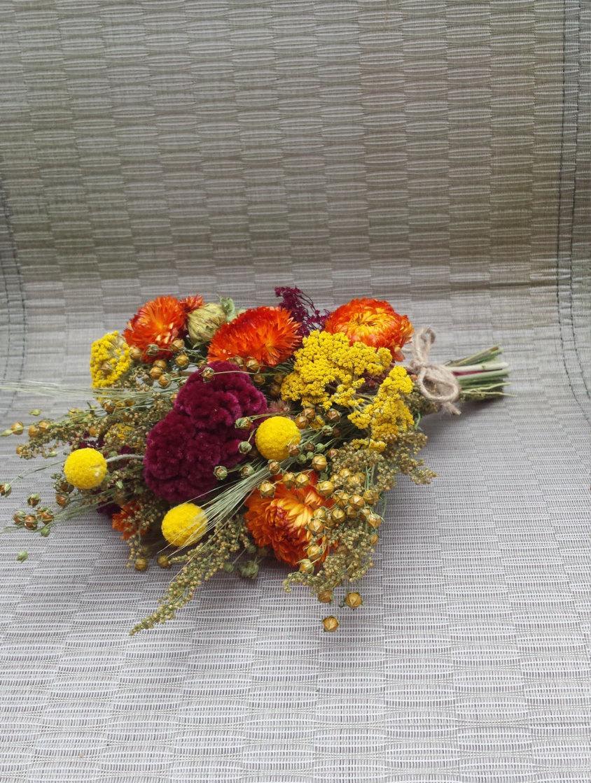 Свадьба - Dried Flower Bouquet Fall Colors Wedding Flowers