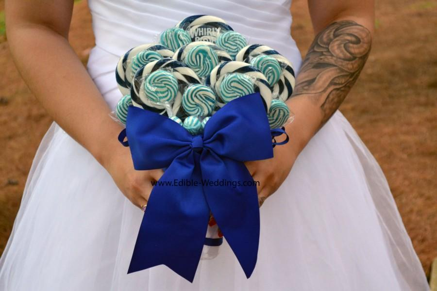 Mariage - Royal Blue Wedding Bouquet, Royal Blue, Bridal, Wedding, Bouquet, Lollipop Bouquet, Candy Bouquet, Something Blue, Blue Lollipop Bouquet