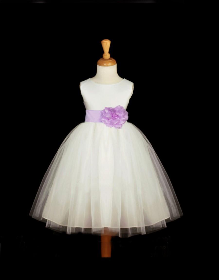 Свадьба - Ivory Flower Girl Tulle dress hand te sash pageant wedding bridal recital children princess bridesmaid toddler sizes 12-18m 2 4 6 8 10
