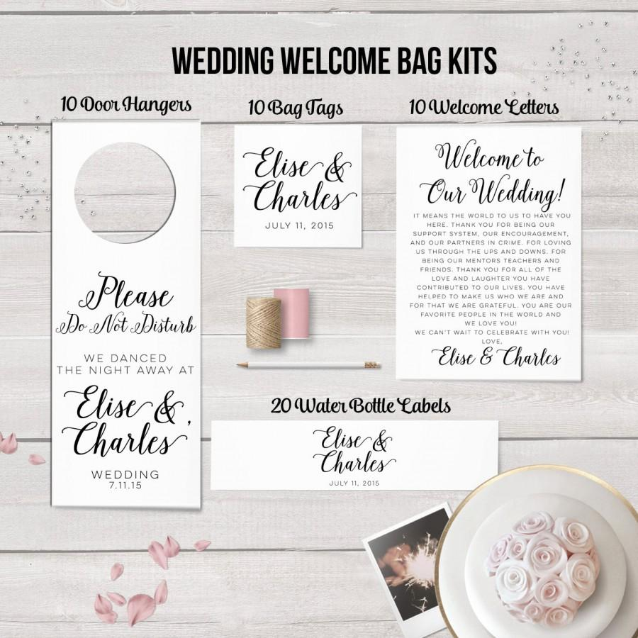 Wedding Welcome Bag Kits Wedding Hotel Bag Set Wedding Door Hangers