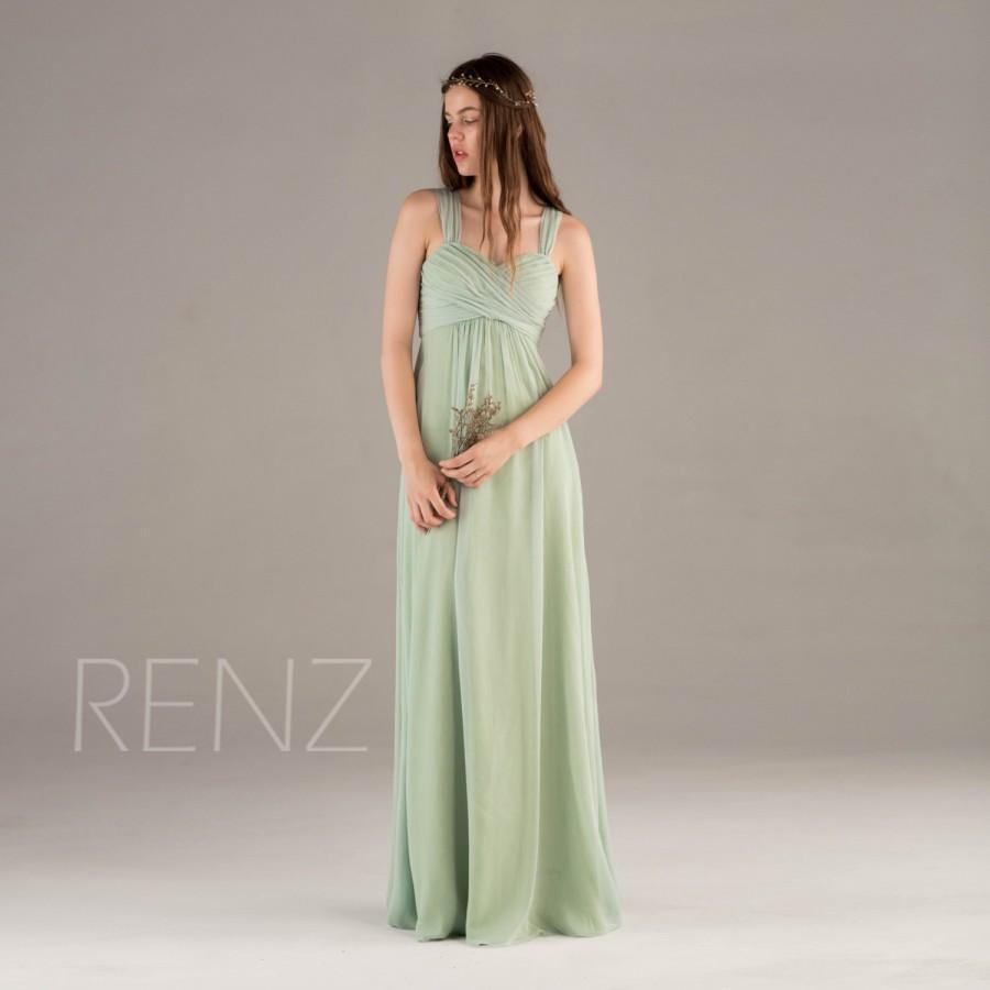 زفاف - 2015 Dusty Shale Bridesmaid Dress, Long Chiffon Prom Dress, Mint Sweetheart Criss Cross Strap Formal Wedding Dress, Backless dress (T120B)