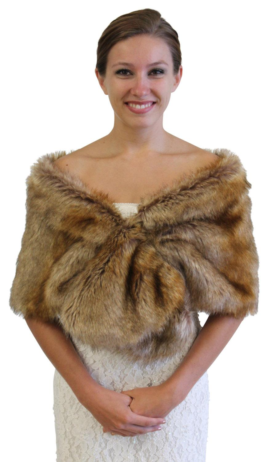 Boda - Vintage Brown faux fur wrap, Bridal wrap, Bridal shrug, faux fur shrug, faux fur stole, faux fur shawl, faux fur cape 800M-VBRN