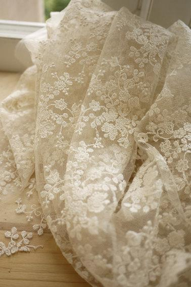 Hochzeit - SALE Ivory Lace Fabric, Wedding Fabric, French Embroidered Lace, Bridal Lace Fabric, wedding Dress Lace, Apparel Curtain Fabric Veil Lace