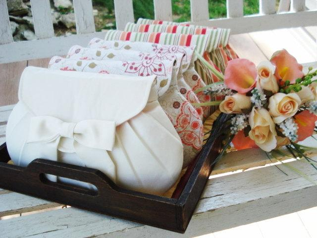 Mariage - Set of 7 -- 6 x 10 Diagonal Pleat Clutches in Assorted Prints, Bridesmaids Gifts