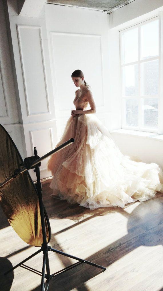 Hochzeit - Nude Tulle Wedding Skirt // Peony