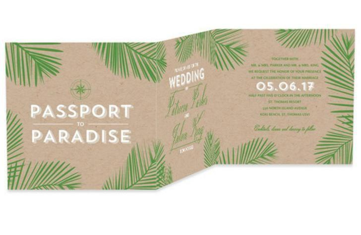 Wedding - Tropical Affair - Signature White Wedding Invitations In Fresco Cream Or Spruce Green