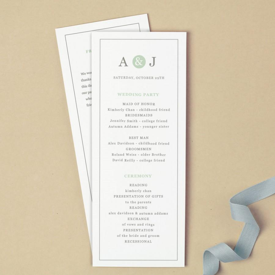 Свадьба - Printable Wedding Program Template