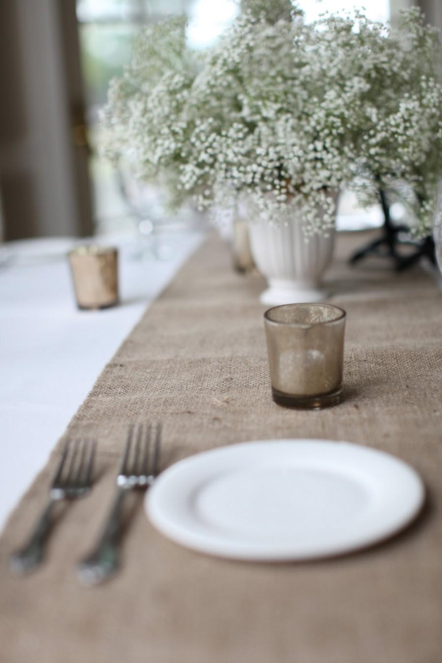 Свадьба - Simple and Chic Hemmed Burlap Table Runner Thanksgiving Table Runner Rustic Home Decor Custom Sizes Available