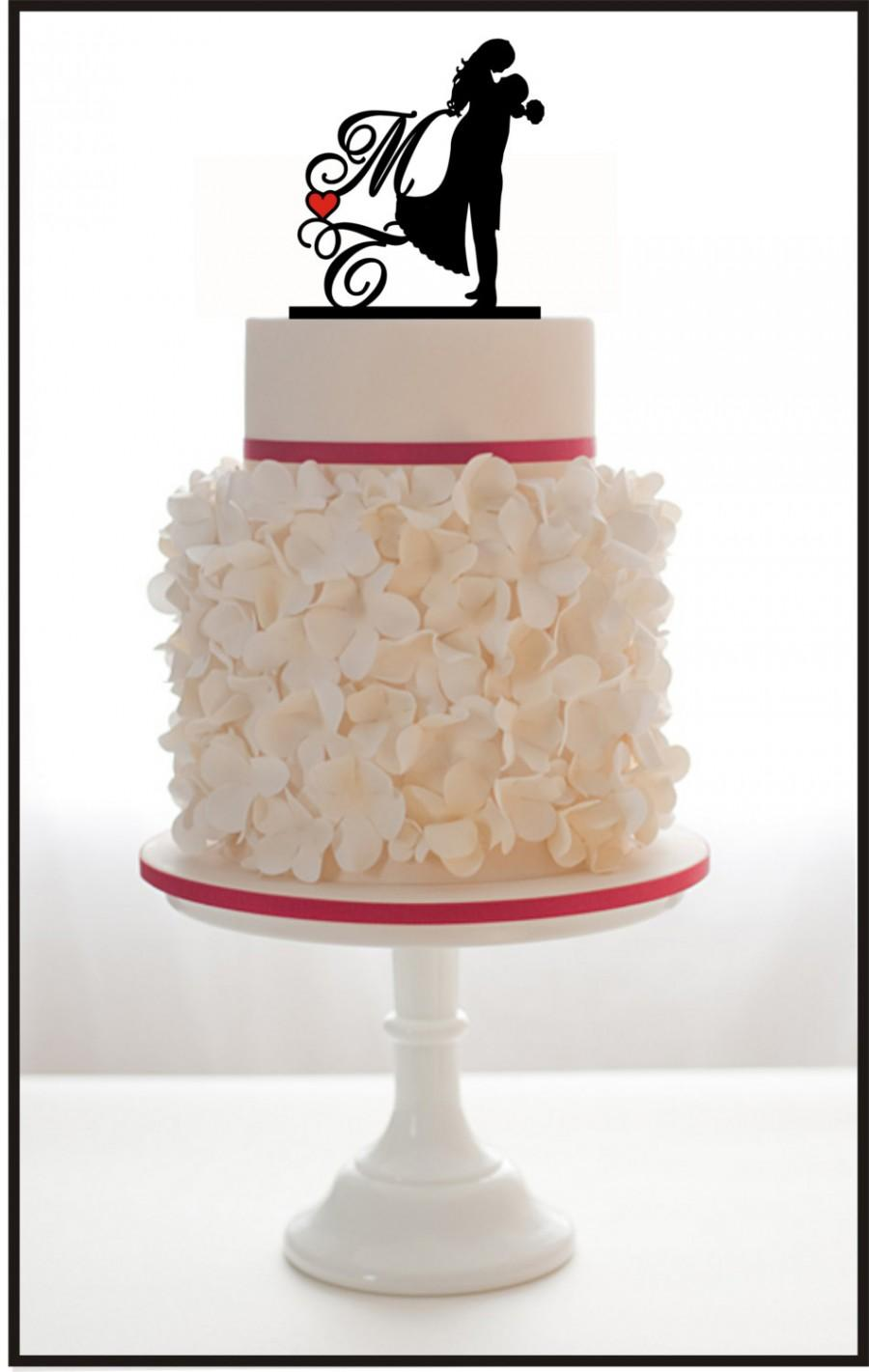 Hochzeit - Custom Cake Topper Silhouette Personalized With Initials, Heart For Wedding or Engagement, choice of color and a FREE base for display