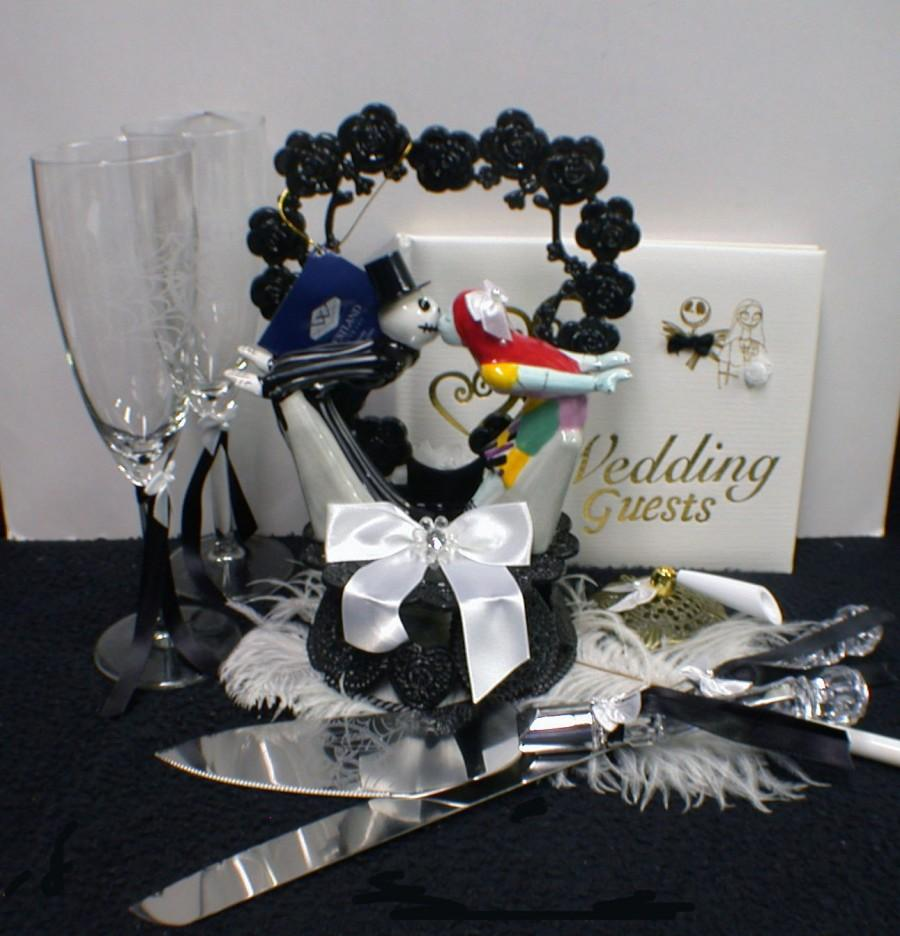 nightmare before christmas wedding cake topper lot glasses server set white guest book halloween funny - Nightmare Before Christmas Wedding Decorations