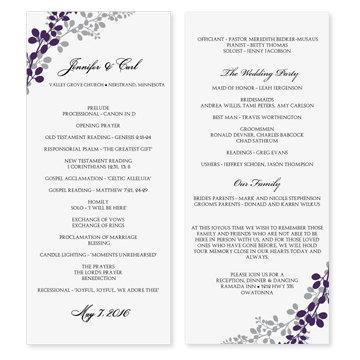 wedding program template exquisite vines eggplant silver tea