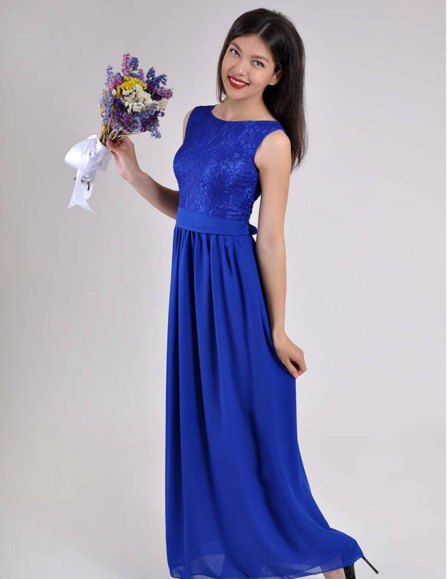 Long evening dress cobalt blue wedding dress lace chiffon for Blue long dress wedding