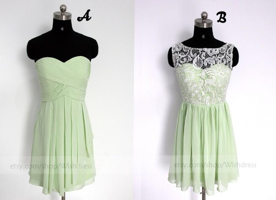 Wedding - Mint Short Bridesmaid Dress/Lace Bridesmaid Dress/Mismatch Bridesmaid Dress/Short Prom Dress/ Homecoming Dress/ Bridal Party dress