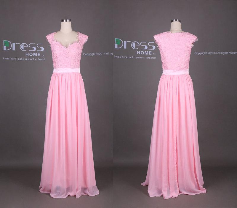Wedding - Pink Sweetheart Cap Sleeves Lace Long Prom Dress/2015 Sweet 16 Dresses/Lace Bridesmaid Dress/Lace Chiffon Wedding Party Dress DH337