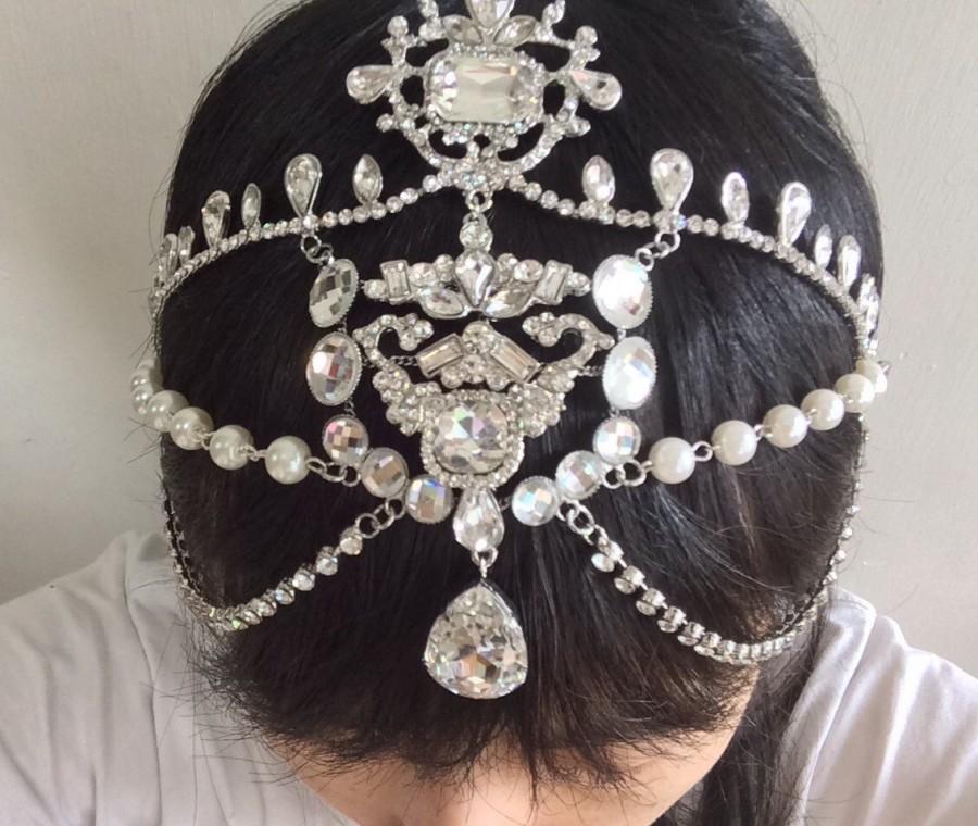 Wedding - Romantic Victorian style sparkle wedding bridal rhinestones crystals hair comb headband tiara