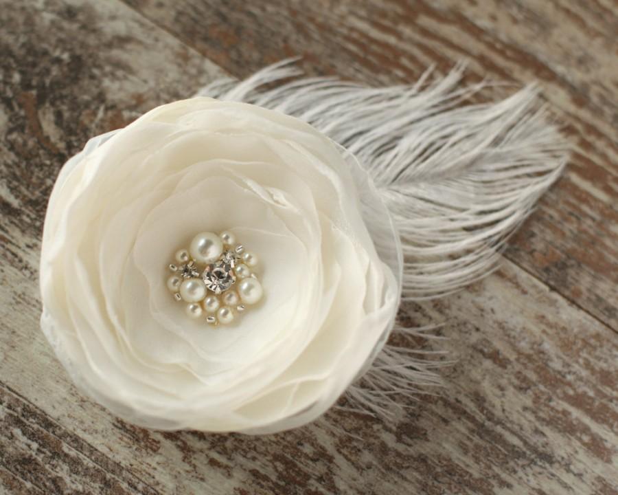 Wedding - Wedding bridal hair accessories, flower hair clip, wedding headpiece, fascinator, vintage rustic ivory flower, feather, pearl, rhinestones