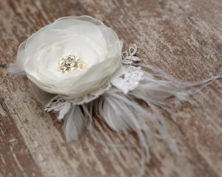 Bridal Ivory Flower Hair Accessories : Ivory wedding hairpiece flower bridal hair accessories